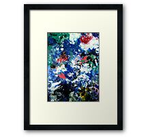 Contemporary River Abstract Landscape Painting in Blue and White Framed Print