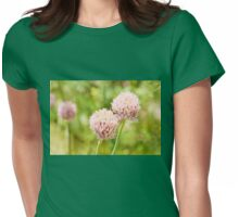 Pink chives flowering plant Womens Fitted T-Shirt