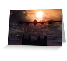 Lancaster Bomber Over Lincoln Cathedral  Greeting Card