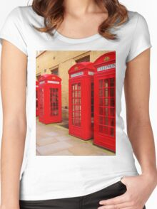 London Telephone Boxes Women's Fitted Scoop T-Shirt