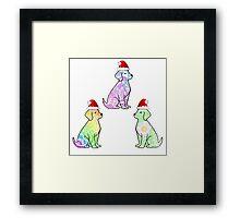 Tie Dye Cute Puppies Pack Christmas Framed Print