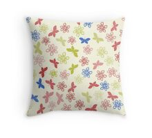 Color floral pattern with flowers and butterfly Throw Pillow