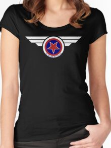 Winged Stucky Shield Double Star Women's Fitted Scoop T-Shirt