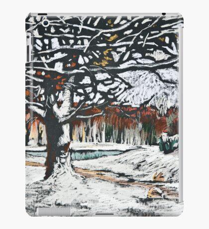 Winter landscape with oak trees in a park iPad Case/Skin