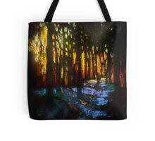 Winter sunset in a snowy forest Tote Bag