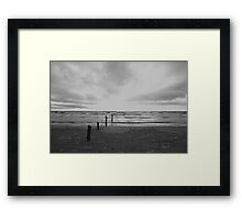 Sunset on Sauble Beach - Black and White Framed Print