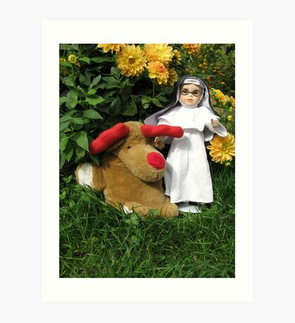 Little Theresa the Child Nun and Pooch (the doorstop) in Our Garden in Romania Art Print