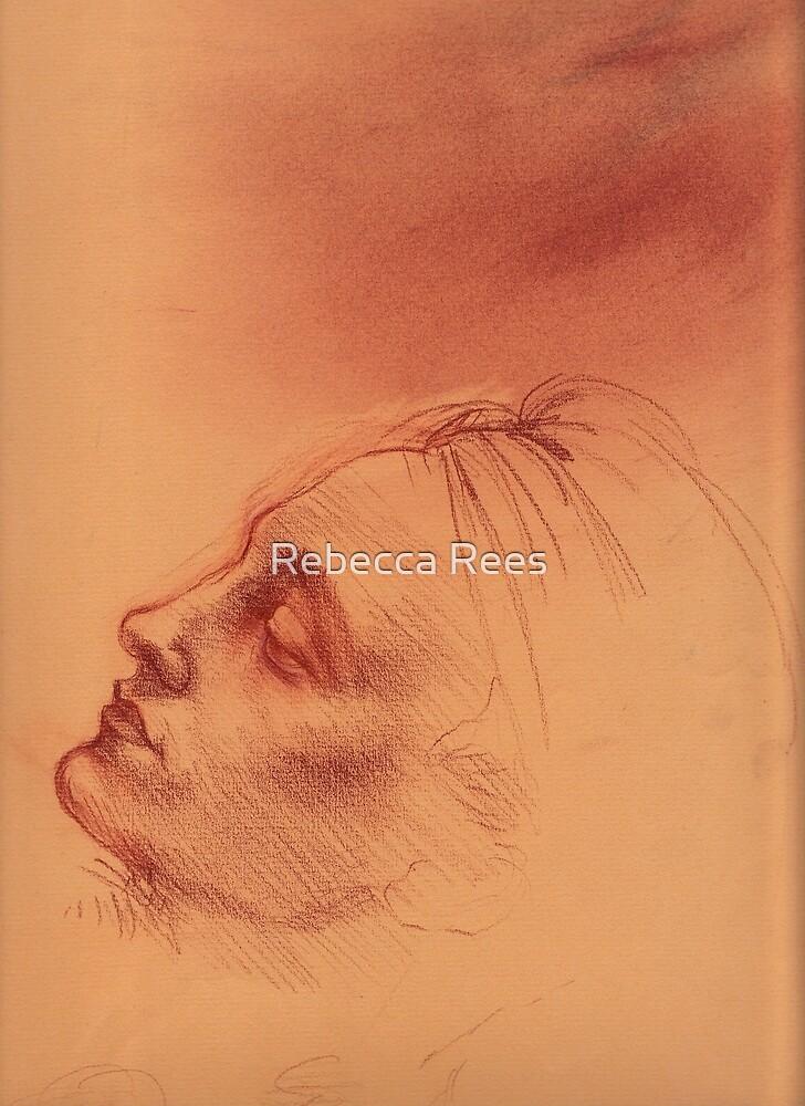 Michelangelo head study #2 - Original terra cotta chalk pastel & prisma pencil drawing by Rebecca Rees