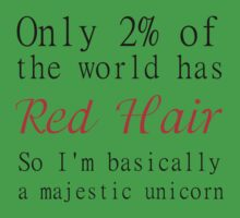 RED HAIR MAJESTIC UNICORN Kids Tee