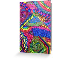 Colorful Geometric Patterned Line Drawing Greeting Card