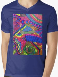 Colorful Geometric Patterned Line Drawing Mens V-Neck T-Shirt