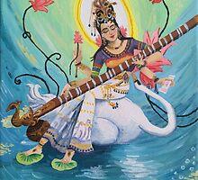 Saraswati Hindu Goddess by Lagoldberg28