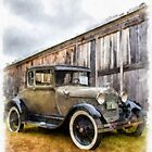 1928 Ford Model A Watercolor by Edward Fielding