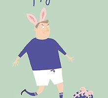 BLUE & WHITE STRIP FOOTBALL/SOCCER EASTER CARD by Jane Newland