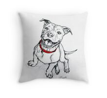 Happy Staffie Throw Pillow