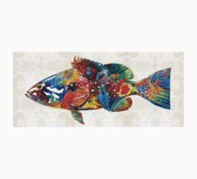 Colorful Grouper Art Fish by Sharon Cummings Kids Clothes