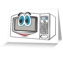 White Male Microwave Cartoom Greeting Card