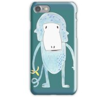 Blue monkey with a banana iPhone Case/Skin
