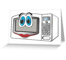 White Female Microwave Cartoon Greeting Card