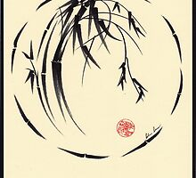 """Beauty"" sumi-e ink brush pen painting by Rebecca Rees"