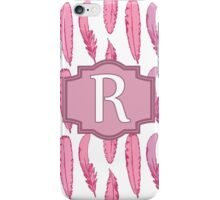 Pink Feathers Monogrammed Letter R iPhone Case/Skin
