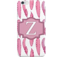 Pink Feathers Monogrammed Letter Z iPhone Case/Skin