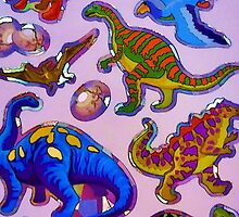 Several colorful dinosaurs by JoAnnFineArt