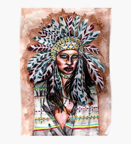 Lumbee Woman - Indian Native American Poster