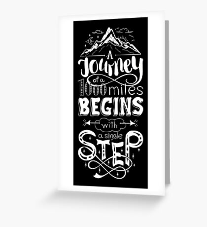 typographical, lettring quote journey, black and white Greeting Card