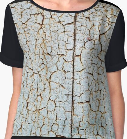 Rusty metal surface which has cracked from age Chiffon Top