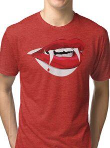 Female Dracula Lips - Halloween Tri-blend T-Shirt