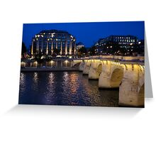 Paris Blue Hour - Pont Neuf Bridge and La Samaritaine Greeting Card