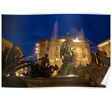 Syracuse, Sicily Blue Hour - Fountain of Diana on Piazza Archimede Poster