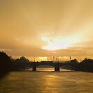 Sunrise Shower - Princes Bridge Melbourne Australia by Norman Repacholi