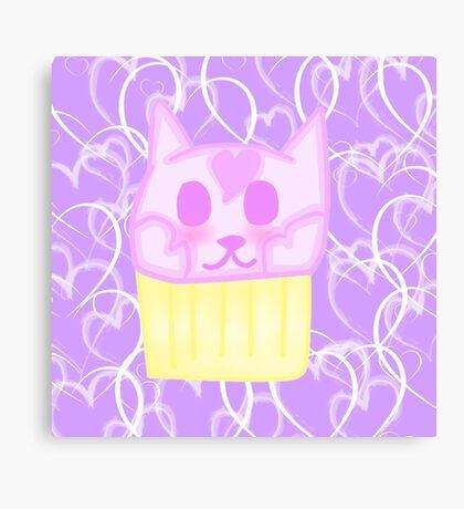 Kawaii Cat Cupcake Canvas Print