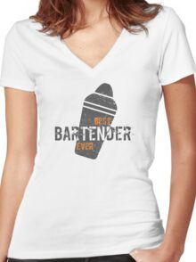Best Bartender Ever Text Barkeeper Barman Women's Fitted V-Neck T-Shirt