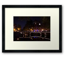 Magical, Sparkling Amsterdam Canals and Bridges at Night Framed Print