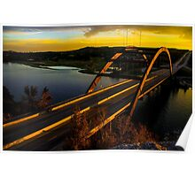360 Bridge or Pennybacker At Sunset with Golden Highlights Poster