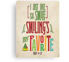 Buddy the Elf - Smiling's My Favorite! Canvas Print