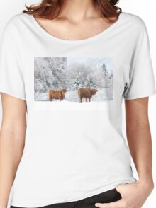 Highland Cattle in winter Women's Relaxed Fit T-Shirt