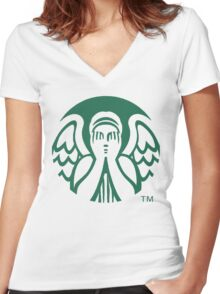 Starbucks Don't Blink Women's Fitted V-Neck T-Shirt