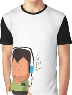 hipster  character with skateboard , listening music Graphic T-Shirt