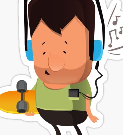 hipster  character with skateboard , listening music Sticker