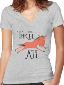 The Thrill of it All Horse Women's Fitted V-Neck T-Shirt