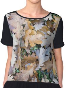 Top view of a layer of fallen oak leaves Chiffon Top