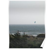 Kite Boarding On the Pacific Ocean Poster