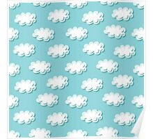 Simple clouds pattern. Seamless cute background. Kids wallpaper. Poster