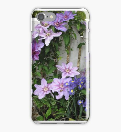 Clematis on white fence iPhone Case/Skin