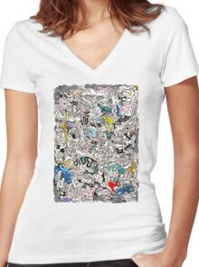 Kamasutra LOVE Doodle Women's Fitted V-Neck T-Shirt