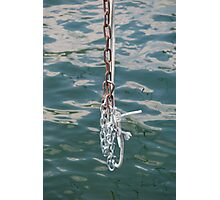 old rusty chain on lake Photographic Print
